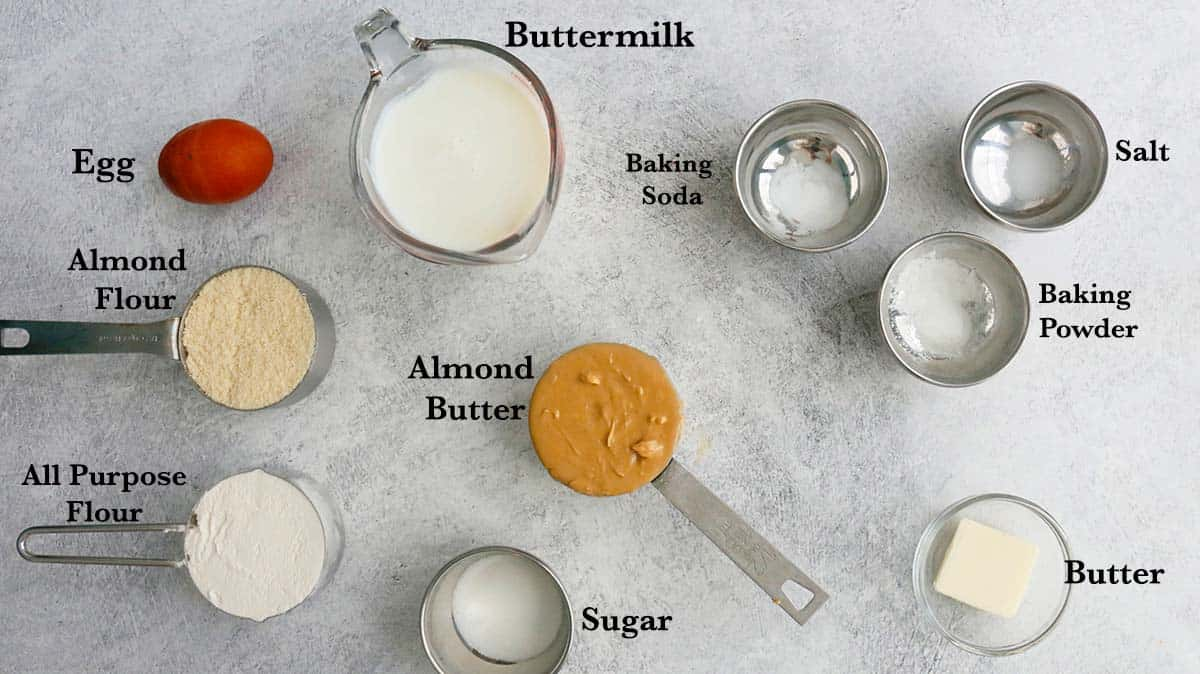 ingredients needed to make almond butter buttermilk pancakes