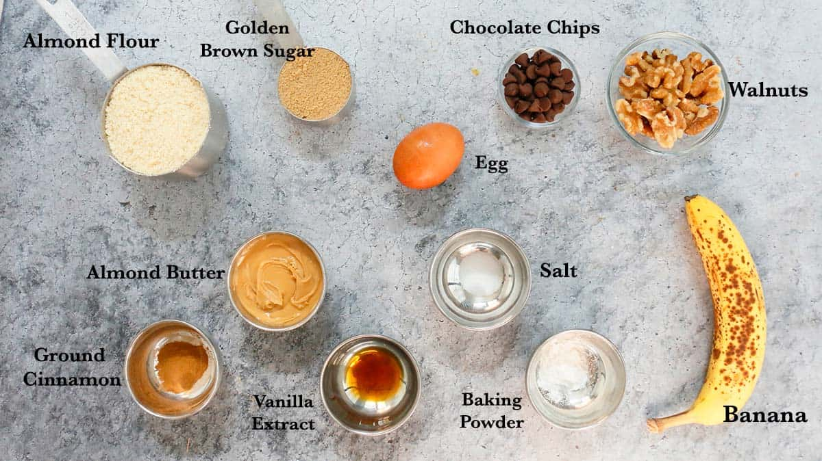 ingredients needed to make banana nut muffins