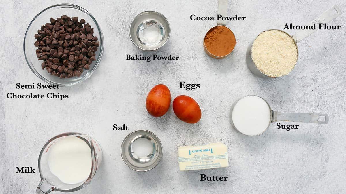 ingredients needed to take almond flour chocolate cake