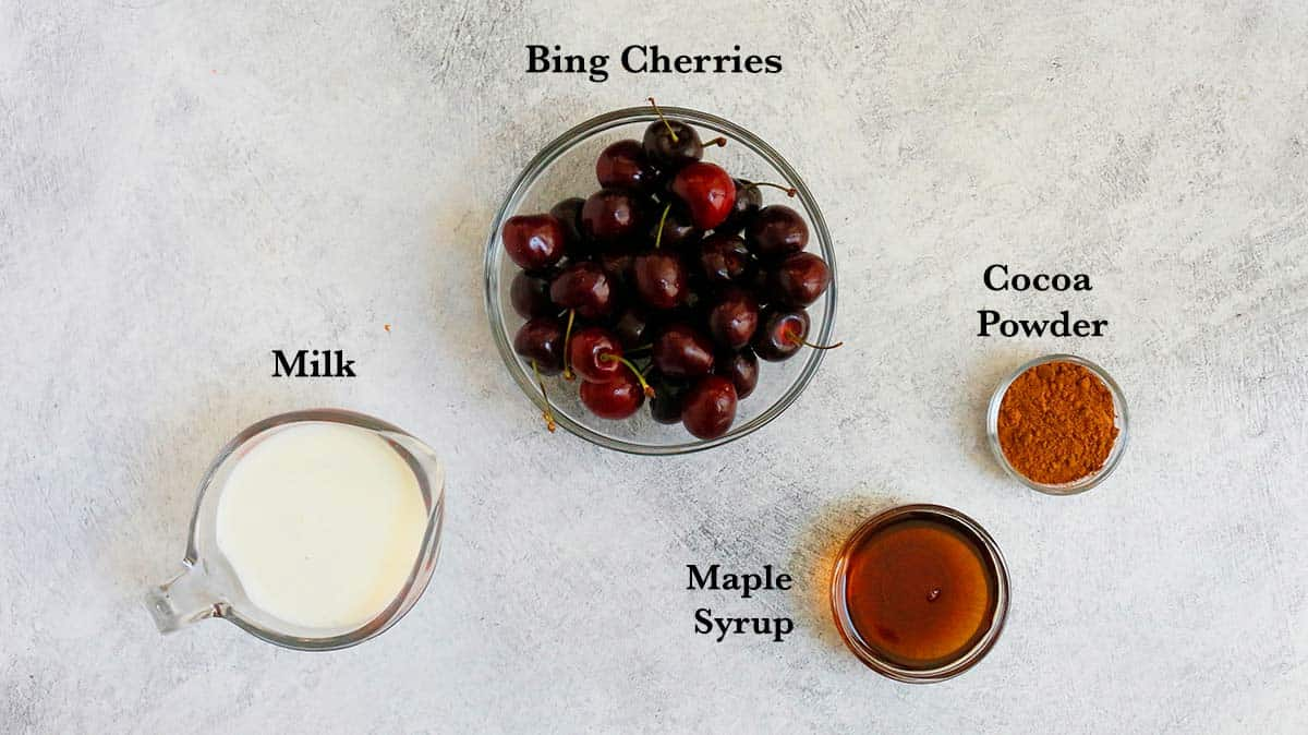 ingredients needs to make chocolate cherry smoothie
