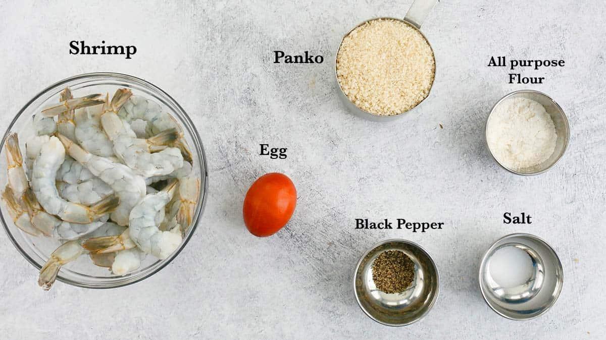 ingredients needed to make panko  breaded shrimp
