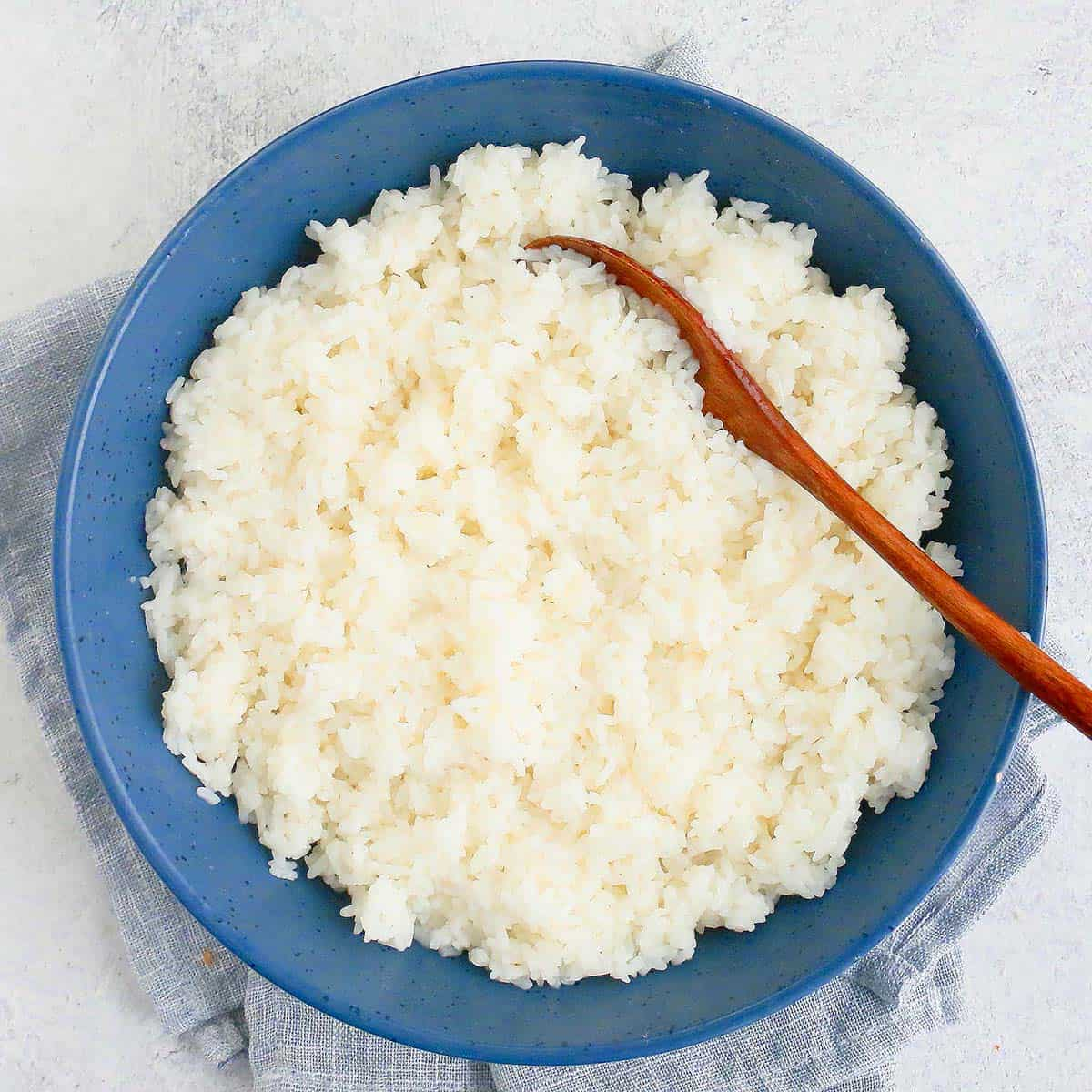 sushi rice served in a large round blue bowl