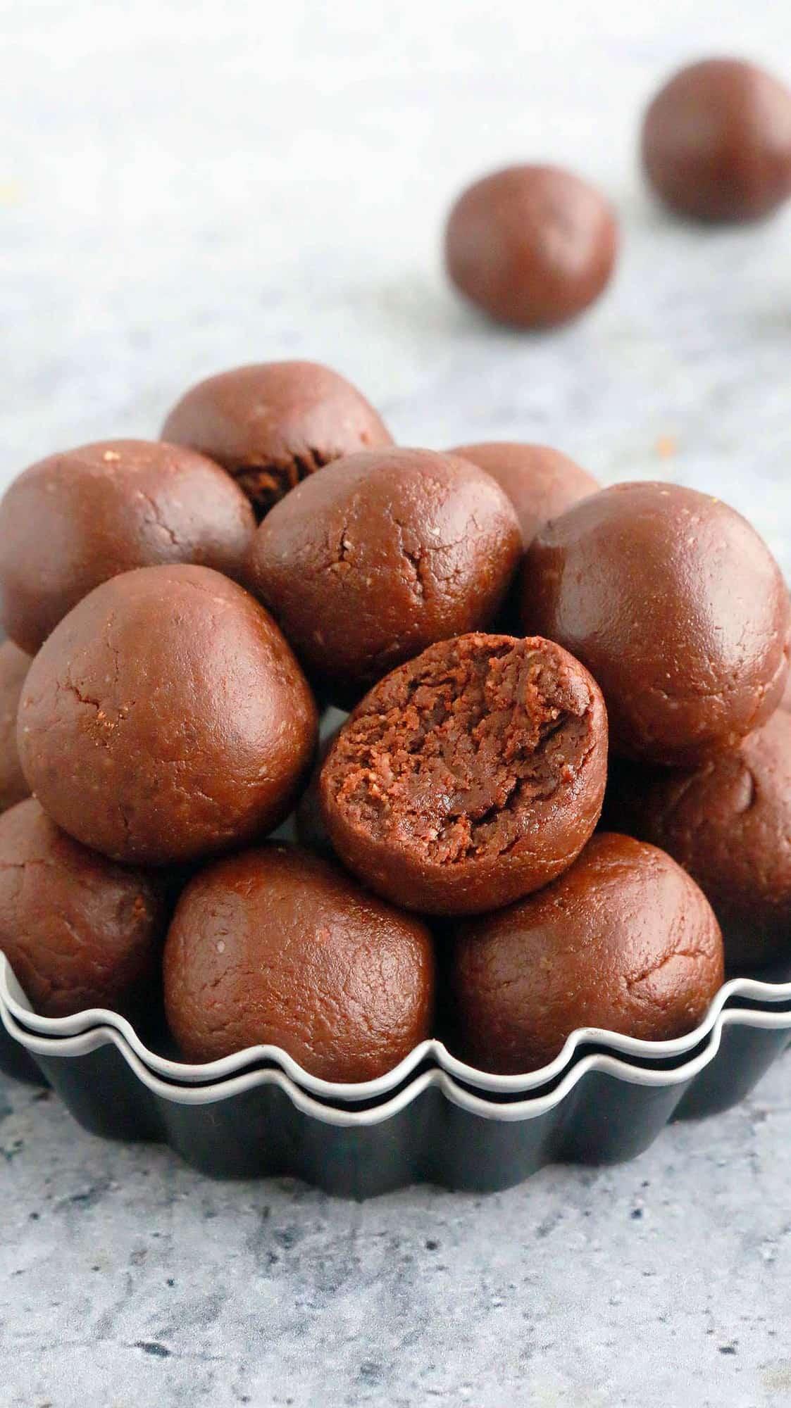 vegan brownie bites in small baking pan