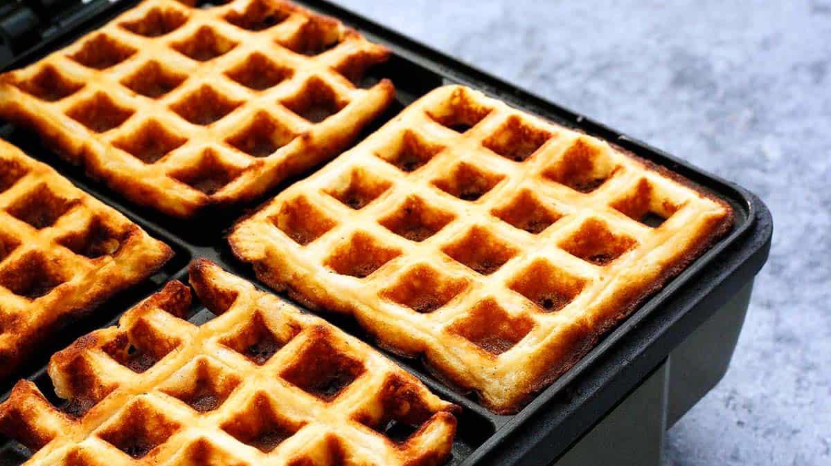 egg free waffles on a waffle iron