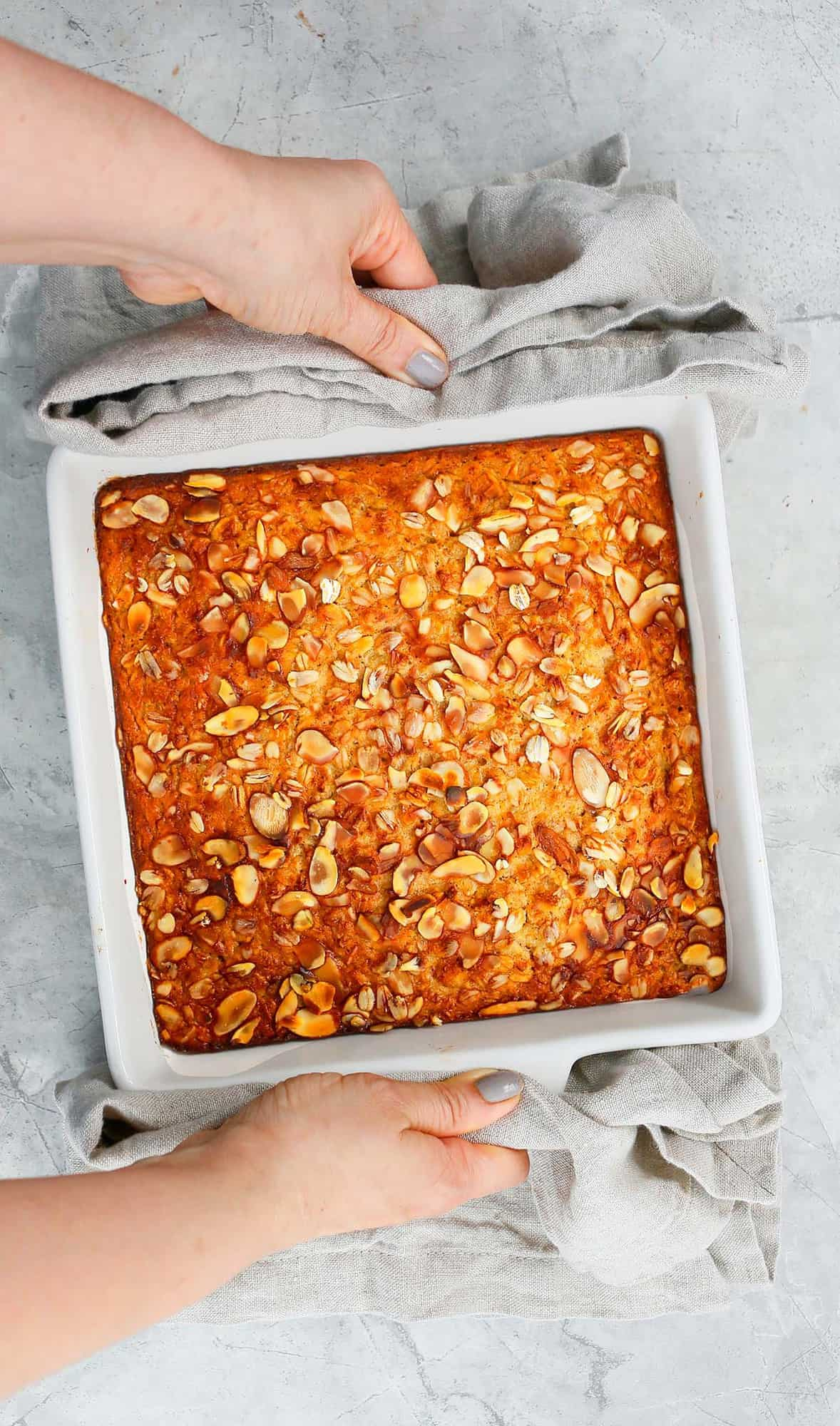 Bring a hot baked oatmeal dish from the oven.