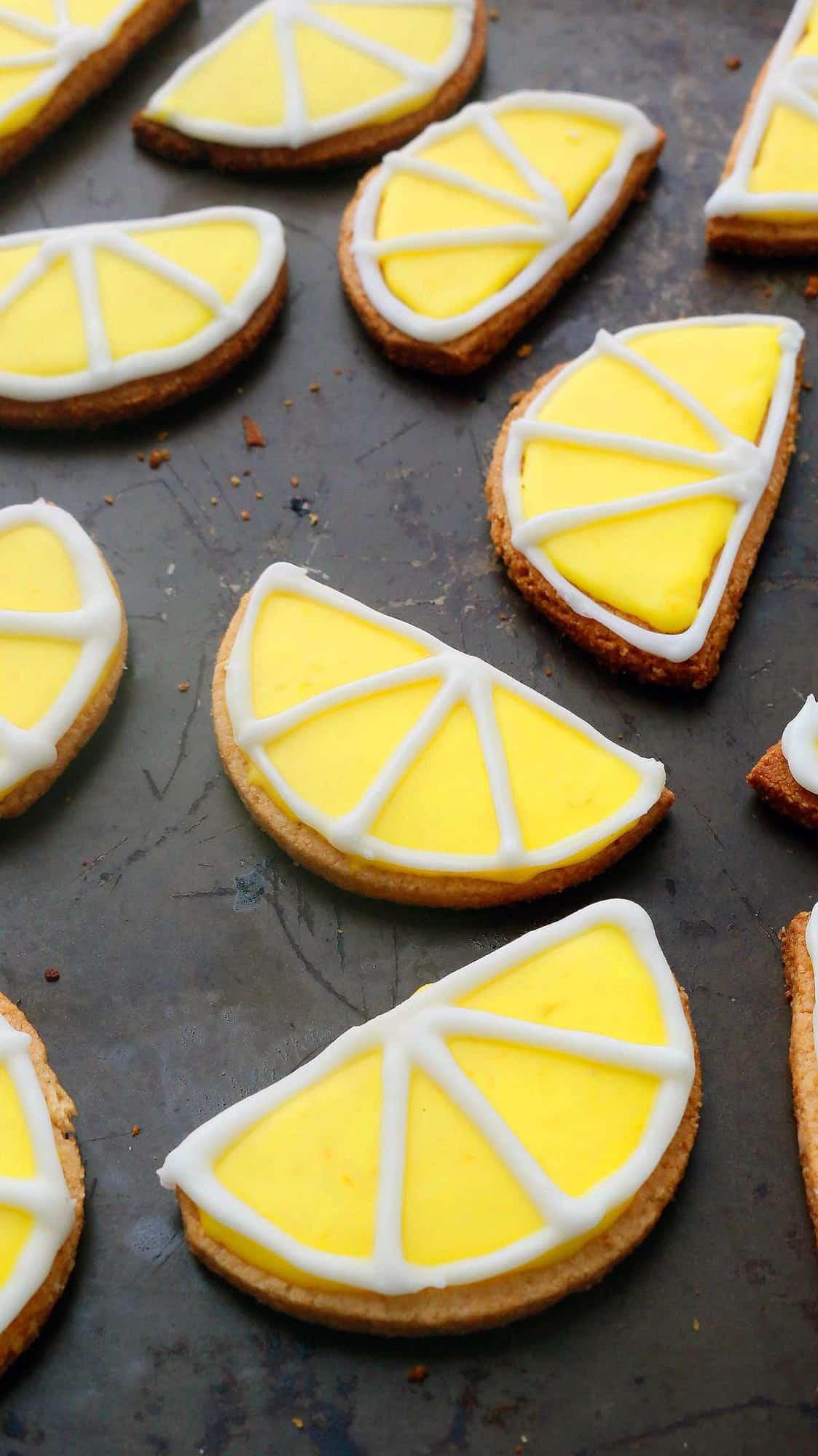 gluten free lemon cookies on a baking sheet