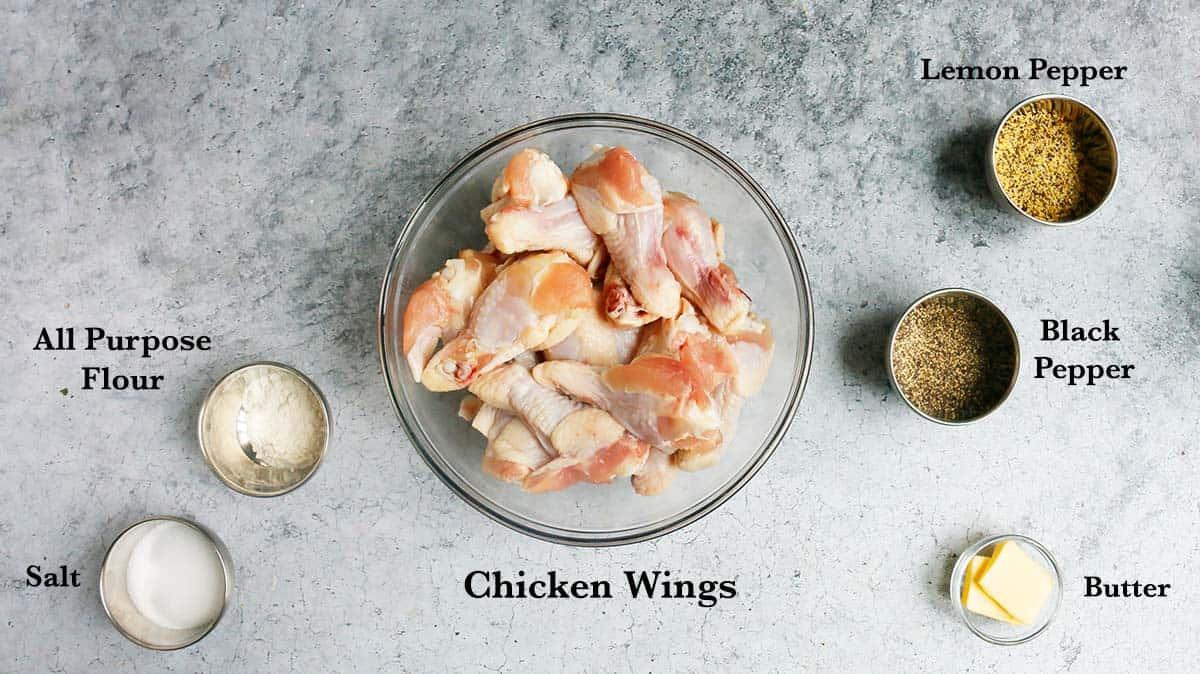 ingredients needed to make air fryer chicken wings.